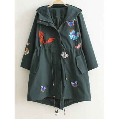 Hooded Embroidery Drawstring Coat
