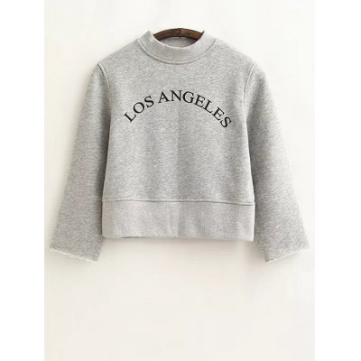 Loose Letter Print Cropped Sweatshirt