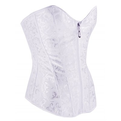 Printed Lace Up Front Zip Bridal Corset