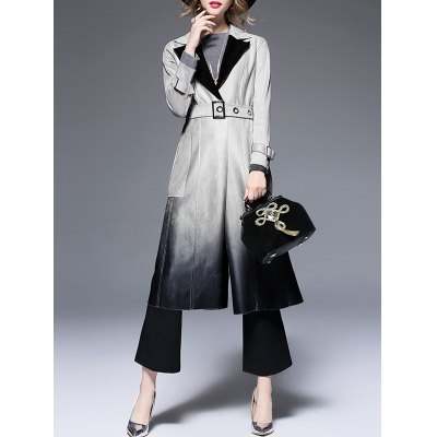 Lapel Suede Ombre Belted Coat