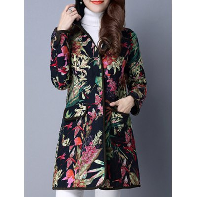 Floral Pockets Hooded Padded Coat