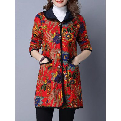 Floral Print Hooded Quilted Coat