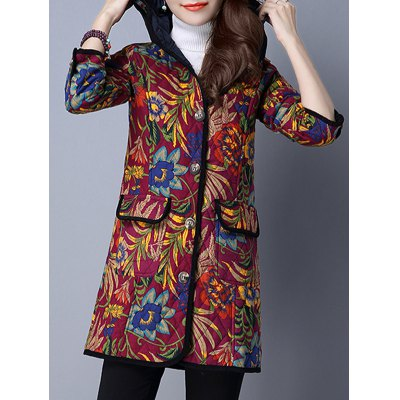 Hooded Floral Padded Coat with Pockets