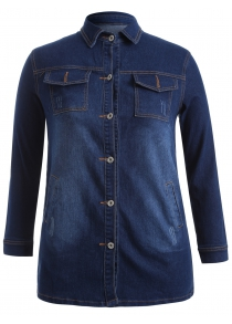 Plus Size Topstitched Button Down Outerwear