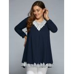 cheap Baggy Lace Spliced Blouse