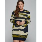 cheap Plus Size Camo Print Fitted Sweater Dress