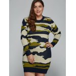Plus Size Camo Print Fitted Sweater Dress deal