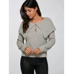 cheap Lace-Up Pullover Knitted Sweater