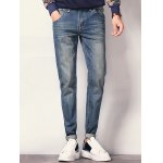 cheap Pocket Design Zipper Fly Scratched Tapered Jeans