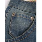 Pocket Design Zipper Fly Scratched Tapered Jeans for sale
