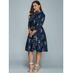 best Plus Size Printed Long Sleeve Shirt Dress