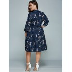 Plus Size Printed Long Sleeve Shirt Dress deal