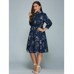 Plus Size Printed Long Sleeve Shirt Dress for sale