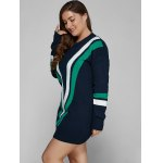 Plus Size V Shape Patchy Fitted Winter Jumper Dress for sale