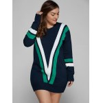 Plus Size V Shape Patchy Fitted Winter Jumper Dress deal