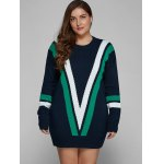 cheap Plus Size V Shape Patchy Fitted Winter Jumper Dress