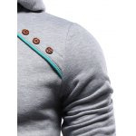 Color Block Splicing Oblique Buttons Embellished Hoodie deal