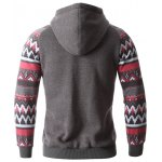 Geometric Print Spliced Raglan Sleeve Hoodie deal
