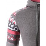 Geometric Print Spliced Raglan Sleeve Hoodie for sale
