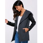 cheap Autumn PU Sleeve Pocket Jacket