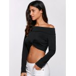cheap Off-The-Shoulder Twist Front Crop Top
