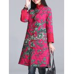 cheap Floral Print Longline Padded Coat