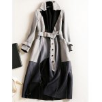 Lapel Suede Ombre Belted Coat for sale