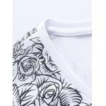 Plus Size Roses Print V-Neck Long Sleeve T-Shirt deal