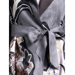 Suede Floral Pattern Belted Coat for sale