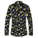 cheap Plus Size Abstract Floral Print Long Sleeve Shirt