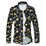 Plus Size Abstract Floral Print Long Sleeve Shirt