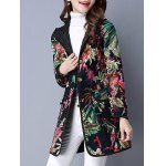 cheap Floral Pockets Hooded Padded Coat