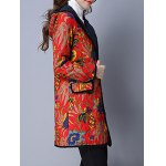 cheap Flower Print Flap Pockets Padded Coat