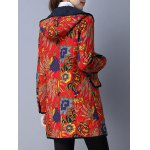Flower Print Flap Pockets Padded Coat deal