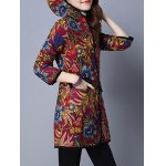 Floral Print Flap Pockets Hooded Padded Coat deal