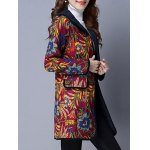 cheap Floral Print Flap Pockets Hooded Padded Coat