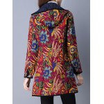 Floral Print Flap Pockets Hooded Padded Coat for sale
