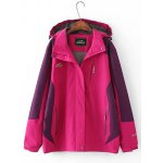Plus Size Windbreaker Hooded Jacket