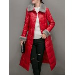 cheap Faux Fur Leather Fitted Down Coat