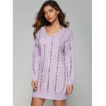 V Neck Long Sleeve Hollow Out Sweater Dress deal