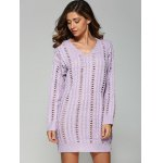cheap Casual V Neck Openwork Cable Knit Jumper Dress