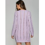 Casual V Neck Openwork Cable Knit Jumper Dress photo