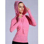 cheap Dry-Quick Heathered Drawstring Pink Hoodie