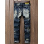 cheap Scratched Zipper Fly Ripped Jeans