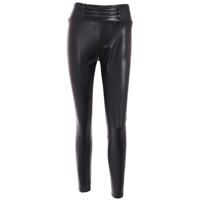 Buttoned High Waist PU Leather Leggings
