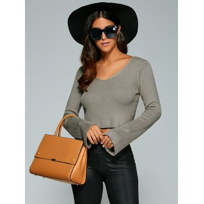 Long Sleeve V Neck Knitted Crop Top