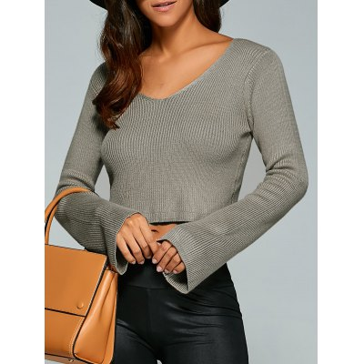 V Neck Long Sleeve Knit Crop Top