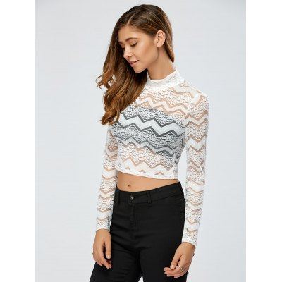 See-Through Zig Zag Lace Crop Top