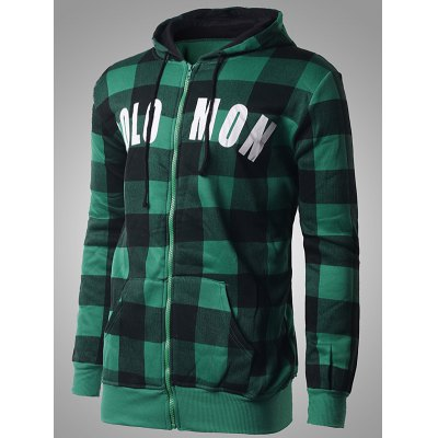 Zip-up Plaid Hoodie with Solo Mon Letter PrintMens Hoodies &amp; Sweatshirts<br>Zip-up Plaid Hoodie with Solo Mon Letter Print<br><br>Material: Cotton Blends<br>Clothing Length: Regular<br>Sleeve Length: Full<br>Style: Casual<br>Weight: 0.550kg<br>Package Contents: 1 x Hoodie