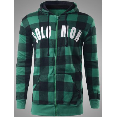 Zip-up Plaid Hoodie with Solo Mon Letter Print